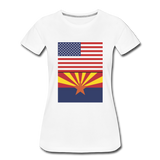 US & Arizona Flags - Women's Premium T-Shirt - white