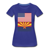 US & Arizona Flags - Women's Premium T-Shirt - royal blue
