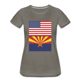 US & Arizona Flags - Women's Premium T-Shirt - asphalt gray