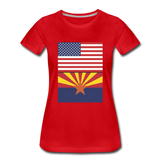 US & Arizona Flags - Women's Premium T-Shirt - red