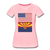 US & Arizona Flags - Women's Premium T-Shirt - pink
