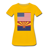 US & Arizona Flags - Women's Premium T-Shirt - sun yellow