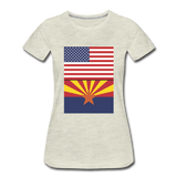 US & Arizona Flags - Women's Premium T-Shirt - heather oatmeal