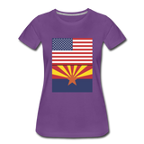 US & Arizona Flags - Women's Premium T-Shirt - purple