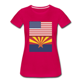 US & Arizona Flags - Women's Premium T-Shirt - dark pink