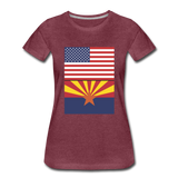 US & Arizona Flags - Women's Premium T-Shirt - heather burgundy