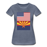 US & Arizona Flags - Women's Premium T-Shirt - heather blue
