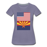 US & Arizona Flags - Women's Premium T-Shirt - washed violet