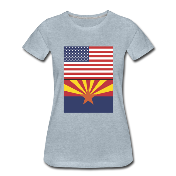 US & Arizona Flags - Women's Premium T-Shirt - heather ice blue