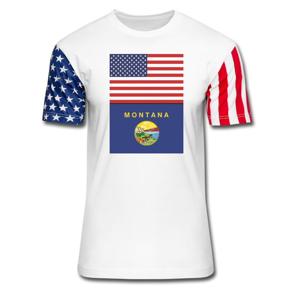 US & Montana Flags -  Stars & Stripes T-Shirt - white