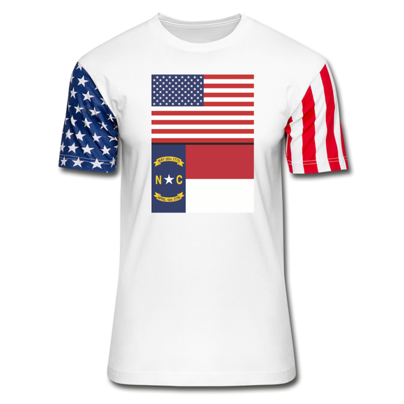 US & North Carolina Flags -  Stars & Stripes T-Shirt - white