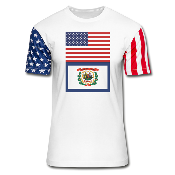 US & West Virginia Flags -  Stars & Stripes T-Shirt - white
