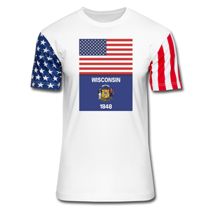 US & Wisconsin Flags -  Stars & Stripes T-Shirt - white