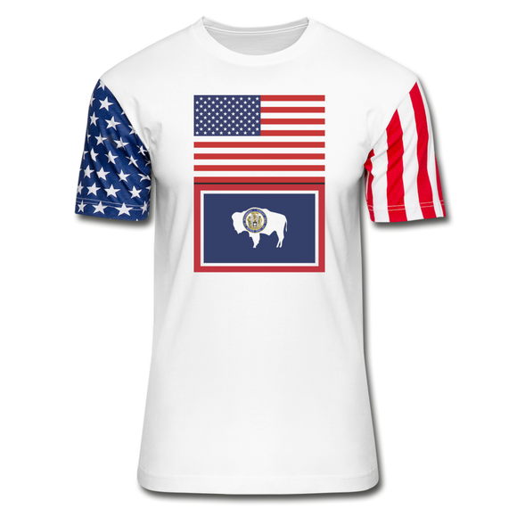 US & Wyoming Flags -  Stars & Stripes T-Shirt - white