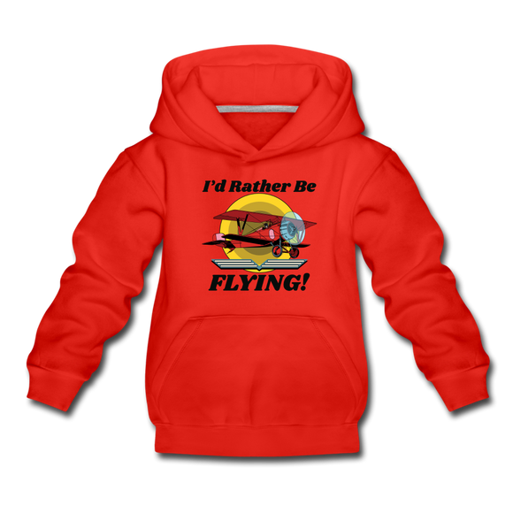 I'd Rather Be Flying - Biplane - Kids' Premium Hoodie - red