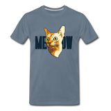 Cat Face - Meow - Men's Premium T-Shirt - steel blue