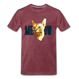 Cat Face - Meow - Men's Premium T-Shirt - heather burgundy