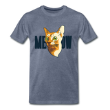 Cat Face - Meow - Men's Premium T-Shirt - heather blue