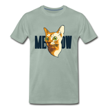 Cat Face - Meow - Men's Premium T-Shirt - steel green