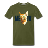 Cat Face - Meow - Men's Premium T-Shirt - olive green