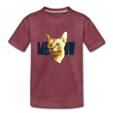 Cat Face - Meow - Kids' Premium T-Shirt - heather burgundy