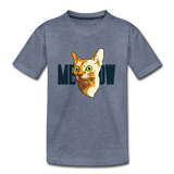 Cat Face - Meow - Kids' Premium T-Shirt - heather blue