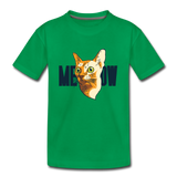 Cat Face - Meow - Kids' Premium T-Shirt - kelly green