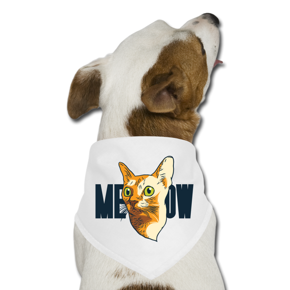 Cat Face - Meow - Dog Bandana - white