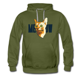 Cat Face - Meow - Men's Premium Hoodie - olive green