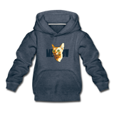 Cat Face - Meow - Kids' Premium Hoodie - heather denim