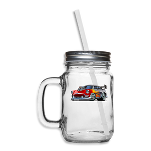 Hot Rod - Retro - Mason Jar - clear