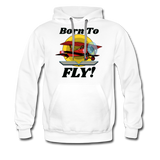 Born To Fly - Red Biplane - Men's Premium Hoodie - white