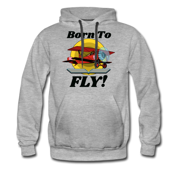 Born To Fly - Red Biplane - Men's Premium Hoodie - heather gray