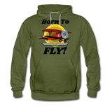 Born To Fly - Red Biplane - Men's Premium Hoodie - olive green