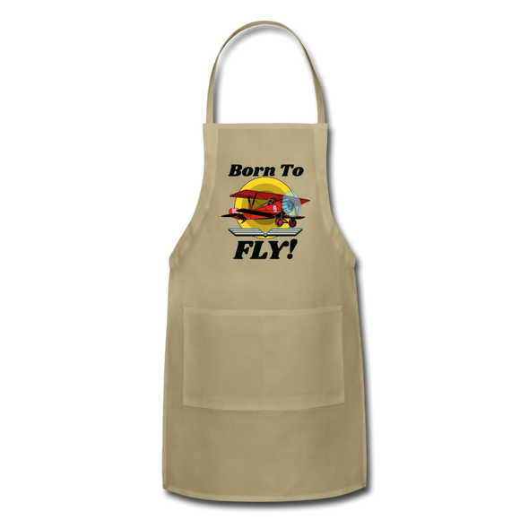 Born To Fly - Red Biplane - Adjustable Apron - khaki