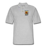 Born To Fly - Red Biplane - Men's Pique Polo Shirt - heather gray