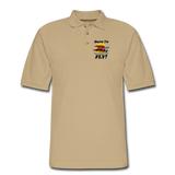 Born To Fly - Red Biplane - Men's Pique Polo Shirt - beige