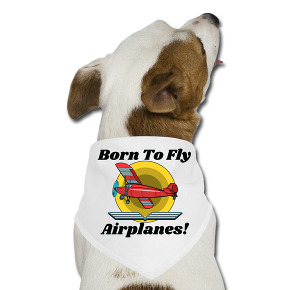 Born To Fly - Airplanes - Dog Bandana - white