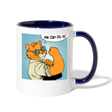 We Can Do It - Cat - Contrast Coffee Mug - white/cobalt blue
