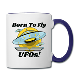 Born To Fly - UFOs - Contrast Coffee Mug - white/cobalt blue