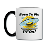 Born To Fly - UFOs - Contrast Coffee Mug - white/black