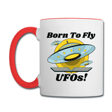 Born To Fly - UFOs - Contrast Coffee Mug - white/red