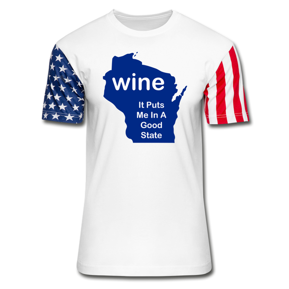Wine - Wisconsin Good State - Stars & Stripes T-Shirt - white