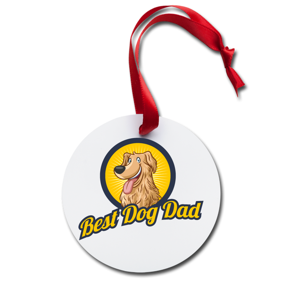 Best Dog Dad - Holiday Ornament - white