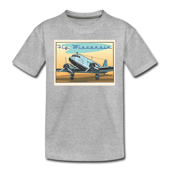 Fly Wisconsin - Toddler Premium T-Shirt - heather gray