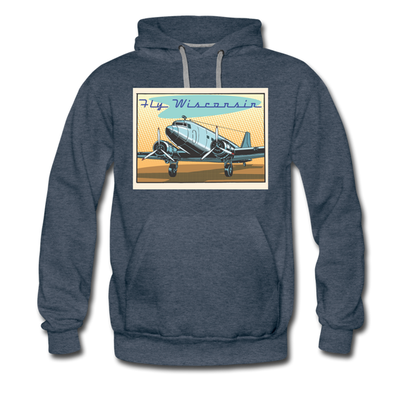 Fly Wisconsin - Men's Premium Hoodie - heather denim