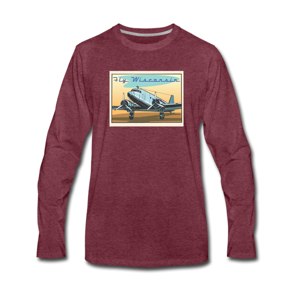 Fly Wisconsin - Men's Premium Long Sleeve T-Shirt - heather burgundy