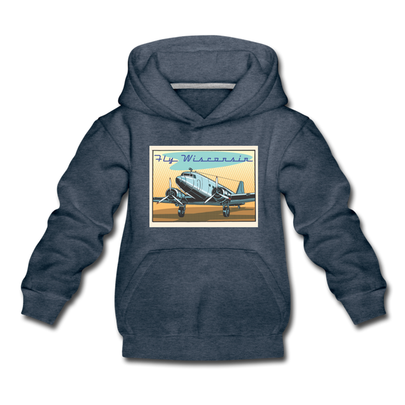 Fly Wisconsin - Kids' Premium Hoodie - heather denim