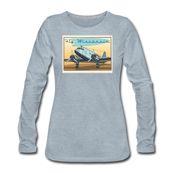 Fly Wisconsin - Women's Premium Long Sleeve T-Shirt - heather ice blue