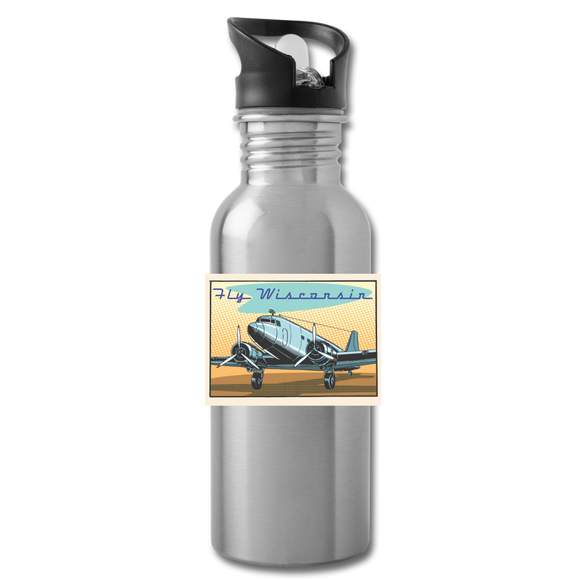 Fly Wisconsin - Water Bottle - silver
